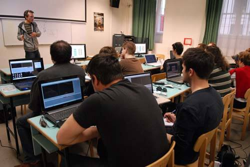 Editing class at the Academy