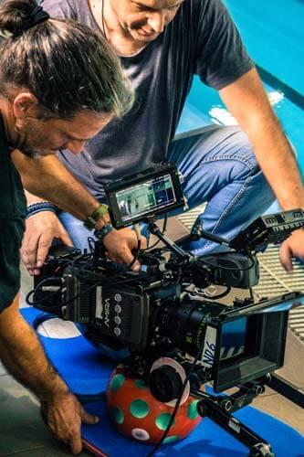 Cinematographers on short film set