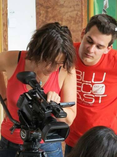Cinematography students on set